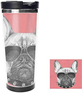 Portrait French Bulldog Insulated Water Bottle Stainless Steel Double Wall, Sunglasses Vacuum Thermos Flask Bottles Sports Coffee Travel Mug Cup 18oz,511ML