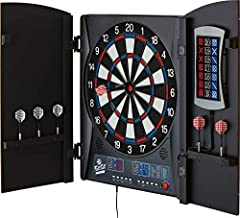 Fat Cat Mercury Electronic Dartboard, Built In Cabinet Doors With Integrated Scoreboard, Dart Storage For 6 Darts, Dual Display In Two Colors, Compact Target Face For Fast Play