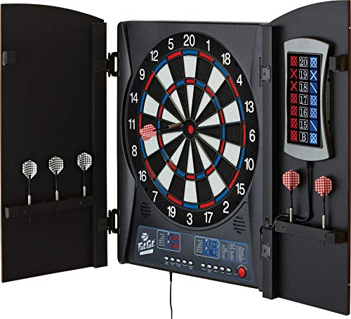 Fat Cat Mercury Electronic Dartboard, Built In Cabinet Doors With Integrated Scoreboard, Dart...