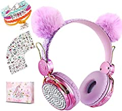 Unicorn Wireless Headphones for Kids,Cat Ear Bluetooth 5.0 Over Ear Headphones with Microphone for Cellphone/iPad/Laptop/PC/TV/PS4/Xbox One, Foldable Stereo Gaming Headset for Girls Teens Gift