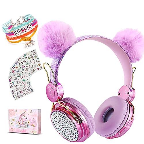 Einhorn Kinder Bluetooth Kopfhörer, Mädche Kinderkopfhörer Over-Ear mit 85dB Lautstärke Begrenzung, Cat Ear Verstellbare Kabellose Headsets mit Mikrofon für Kindle/Tablet/Laptop/PC/TV (Ball rosa)