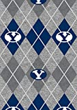 Brigham Young University Fleece Fabric Sold by The Yard-BYU Cougars Heather Argyle Fleece Blanket Fabric-SYKEL BYU1148