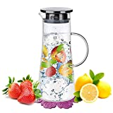 Water Jug,BOQO Glass Jug With Lid,Water Pitcher Glass Carafe,Borosilicate Glass Water Jar and stainless steel Lid and Coaster,Water Carafe,Juice Pitcher(50oz/1500ml)