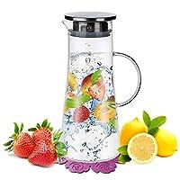 brocche e caraffe,boqo caraffa vetro,coperchio in acciaio inox,brocca acqua(1,5 litri)