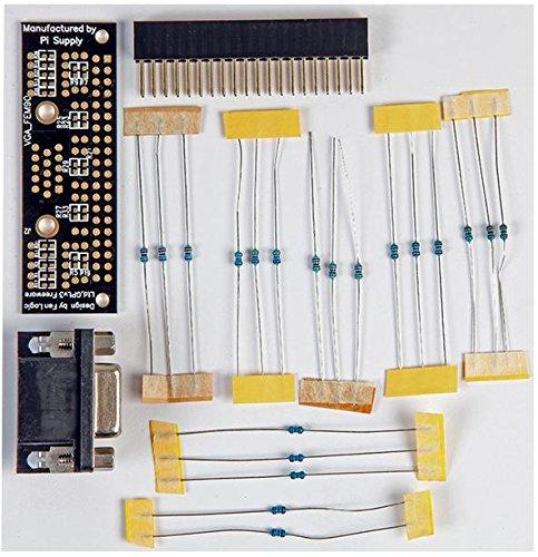 VGA-Adapter-Set, für Raspberry Pi, Inhalt: 1 x Gert VGA 666 PCB, 1 x 40-pin GPIO Header Anschluss, 1 x 15-polige VGA-Buchse, 20 x Durchgangswiderstände (2 x 120Ω3x 499Ω3x 1k&Omeg
