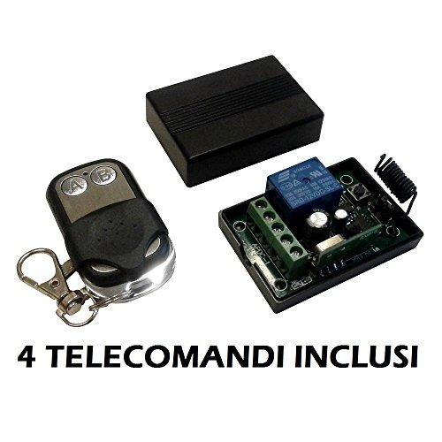 Module Relais ontvanger 1 kanaal Ch 12 V 10 A + 4 afstandsbedieningen 433 MHz draadloze afstandsbediening poorten rolluiken lichten Home schakelaar Relay 12 V DC