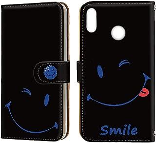 [FFANY] HUAWEI nova lite 3 (POT-LX2J) ケース 手帳型 ミラータイプ [スマイル・ブルー] smile 缶バッチロゴ ニコちゃん ノバライトスリー スマホケース 携帯カバー blacksmile-081@06m