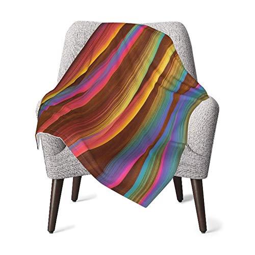 Olverz Manta moderna abstracta de líneas coloridas para bebé, cómoda manta de bebé, manta gruesa de felpa, manta suave para cochecito de bebé, cuna, recién nacidos