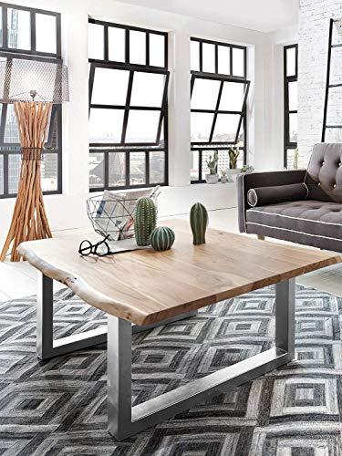 SAM Couchtisch 120x80 cm Quarto, echte Baumkante, massiver Sofatisch aus Akazienholz, Metallbeine Silber, Baumkantentisch