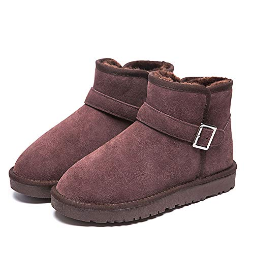BOXIAO Snow Boots,Sheepskin and Fur Back Bow Snow Boots Waterproof Insulated Non Slip Outdoor Lined Warm,Winter Non-Slip Warm Boots,brown,37