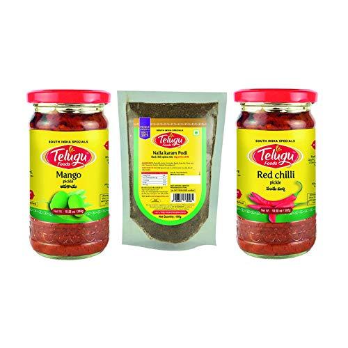 Telugu Foods Combo of Mango Pickle 300g, Redchilli Pickle 300g (Buy 2 get 1 Free Powder) Red Chili Spice Mix Powder (Nalla Karam Podi) 100g