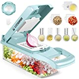 Vegetable Chopper, Adjustable 12 in 1 Vegetable Slicer and Chopper, Multi-Functional Veggie Cutter, Onion Chopper with Water Filter Basket and Large Container for Vegetable Cheese Fruit