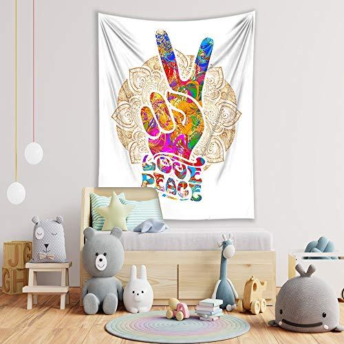 WERT Colorido Hippie clásico Ventilador Amor Paz música Dibujo casa Retro decoración del hogar Tapiz Tela de Fondo A2 130x150cm