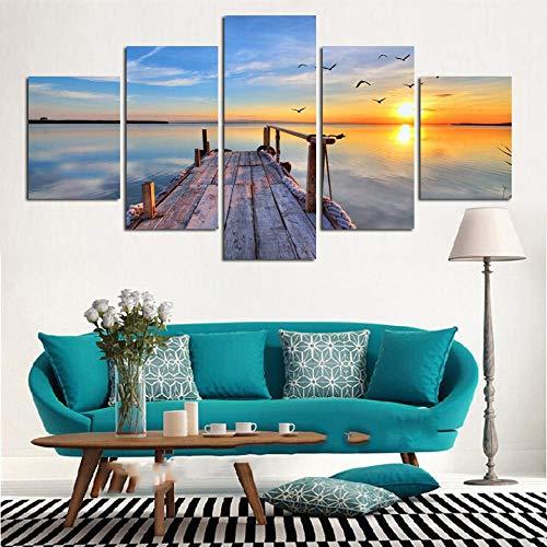 LWJPD Cuadro en Lienzo Cuadros Impresos HD Modernos Pintura En Lienzo 5 Paneles Amanecer Mar Puente De Madera Arte De Pared Decoración del Hogar Póster para Sala De Estar