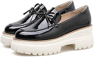 Femmes Wedge Chaussures Mode Bowknot D/écor Couleur Unie Couture en Cuir Slip on Low Top Bout Rond Chaussures D/écontract/ées Plus La Taille 42 Dames Ballerines