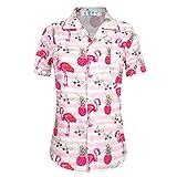APTRO レディース ハワイアン シャツ 4方向ストレンチ サマートップ ブラウザーシャツ US サイズ: 4X-Large カラー: ピンク