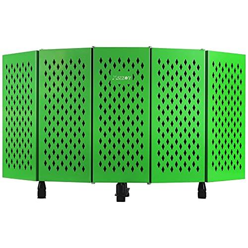 MSIZOY 5-panel Green Foldable Studio Recording Microphone Isolation Shield,High Density Mic Sound...