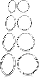 4 Pairs Sterling Silver Cartilage Small Hoop Earrings Set Hypoallergenic 14K White Gold Plated Endless Helix Tragus Earrings Nose Lip Rings 8mm 10mm 12mm 14mm