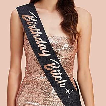 xo Fetti Birthday Sash for Women - Black Glitter + Rose Gold Foil | Birthday Decorations - 21st 30th Birthday Girl