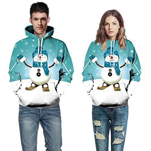 Suéter Con Capucha 3D, 3D Digital Azul Verde Navidad Muñeco De Nieve Imprimir Parejas Con Capucha De Manga Larga Sudadera Sudadera Mujer De Moda En Europa Y Los Estados Unidos Street Suelto Unifor