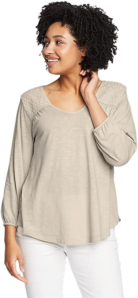 Eddie All stores are sold Bauer Women's Gate Check V-Neck Low price Top 4-Sleeve 3