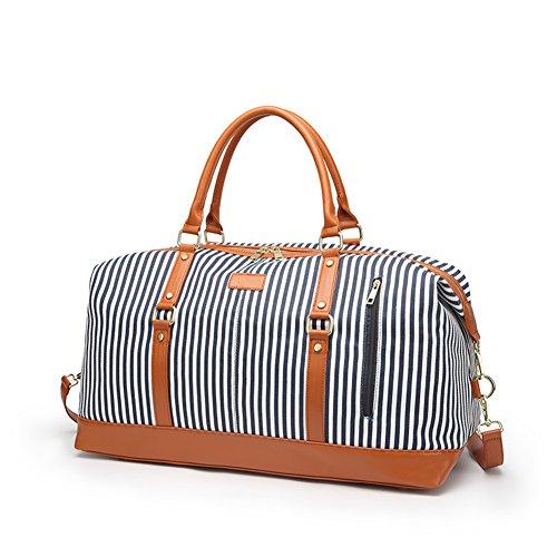 Dam helgväska, stor kapacitet kanvas resa duffel tygväska överdimensionerad kappsäck helg övernattning resväska handväskor med axelremmar (blå)