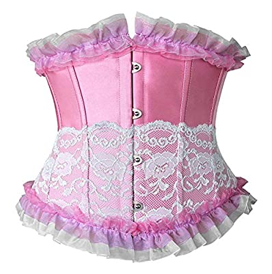"""Coolweary Women's&Ladies Fashion Trim Lace Up Corset Boned Underbust Waist Training Corset Top Pink M/Fit Waist 24.5""""-25.5"""" from"""