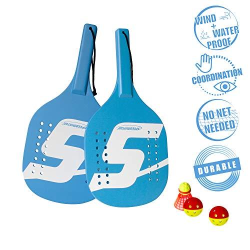 Speedminton Light Wooden Beach Paddle 2 Player Set  Incl 2 Balls amp 1 Original Fun Speeder Birdie  Perfect Alternative to Smashball amp Beach Tennis