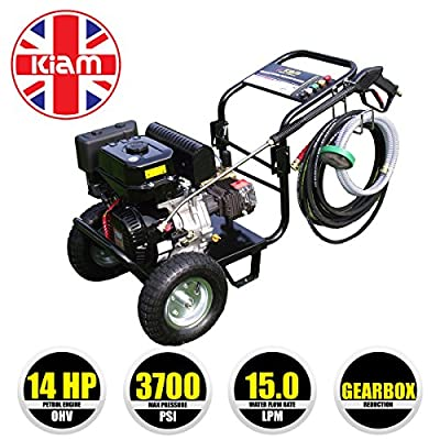 Kiam KM3700PR 14hp Industrial Petrol Gearbox Reduction Pressure Washer (3700PSI @ 15 LTR/Min) High Jet Power Driveway Patio Car Block Paving Cleaner by KIAM POWER PRODUCTS