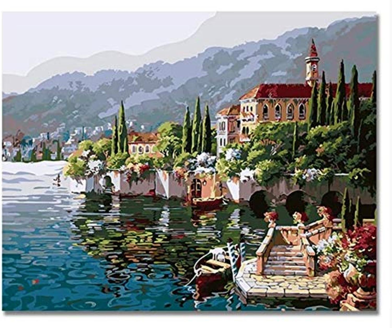 Superlucky Sommer Seaside Castle Pictures Oli Malen nach Zahlen auf Leinwand DIY Landschaft Digital Farbeing nach Anzahl gerahmt 40x50 cm B07KX1RSQ4 | Quality First