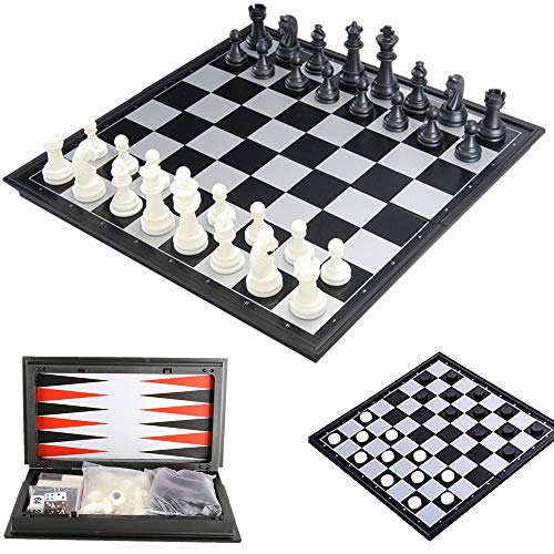 ZCQS 12.2 x12.2 Inches 3 in 1 Magnetic Chess for Travel Games Checkers Toys Gift Chess Boards Game Set Backgammon Set with Folding Chess Board Educational Toys for Kids and Adults