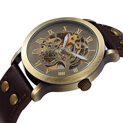 Reloj de Pulsera Deportivo de Cuero Negro mecánico automático con Caja de Esqueleto Steampunk para Hombre