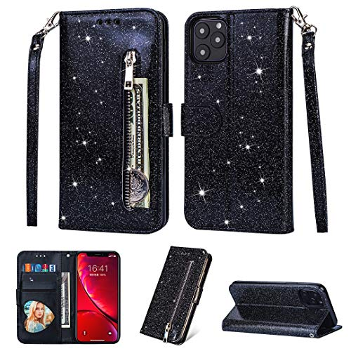 Yobby Case for iPhone 11 Pro Max 6.5 inch,Glitter Black PU Leather Zipper Wallet Case with Card Holder and Wrist Strap,Bling Flip Magnetic Shockproof Cover for iPhone 11 Pro Max 6.5 inch