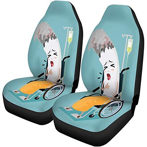 Autositzbezüge Stuhl Zigarette Cartoon Krank sein und im Rollstuhl sitzen Universal Auto Front Seats Protector