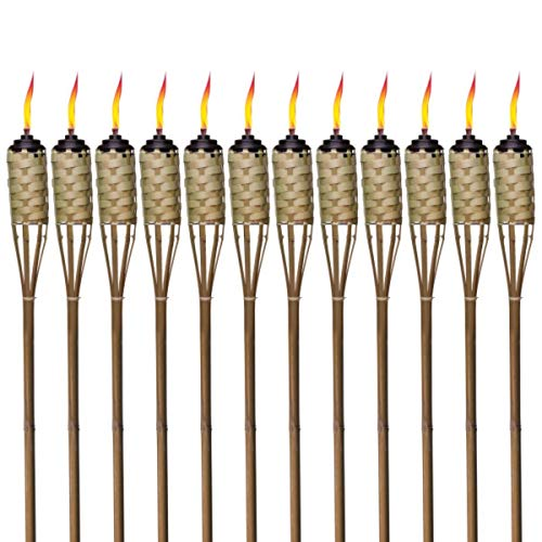 TIKI Brand Brown Easy Pour 12-Pack 57 Inch Tiki Torch Bamboo Classic Weave