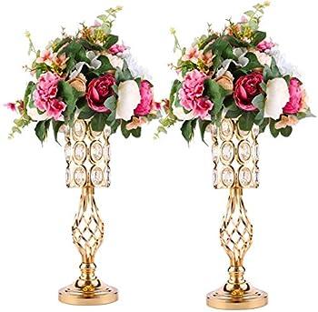 Metal Crystal Wedding Centerpiece Vases for Tables Set of 2 Gold Trumpet Flower Vase Stands for Wedding Party Reception Dining Room Living Room Decor