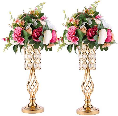 Soporte de vela de cristal dorado, mesa de centro de mesa de boda, juego de 2 centros de mesa de metal para decoración de florero de boda (2 unidades)