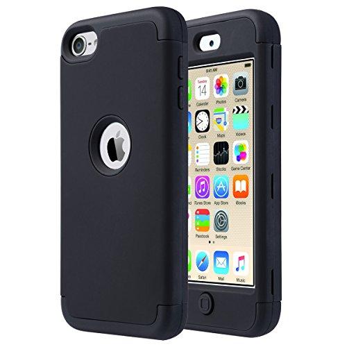 ULAK Coque iPod Touch 7, Étui Housse 3 en 1 Hybride Antichoc en Silicone Souple + PC Dur Protection Coque pour Apple iPod Touch 5/6/7ème Génération (2019), Noir