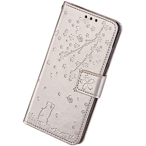 Find Discount Herbests Compatible with Samsung Galaxy A10 Case Wallet Flip Cover Cherry Blossom Flor...