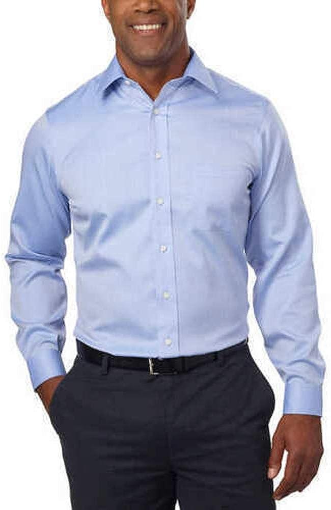 Kirkland Signature Men's Non-Iron Spread Collar Dress Shirt (Blue Diagonal)