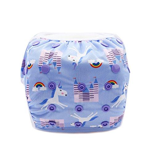 Hisprout Unisex Snap wiederverwendbar Baby saugfähig Swim Windeln verstellbar ONE SIZE Einhorn
