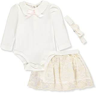 Harry & Violet Baby Girls Ivory Bodysuit Skirt Bow Headband 3 Pc Outfit 3-9M