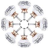 HQdeal Pomos para Muebles, 8pcs 40mm Pomos de cristal de diamante con tornillo, tirador mueble para cajones, Cajón, comodas, cajoneras, puerta de armario de cocina,Decoración Del Hogar(Oro rosa)