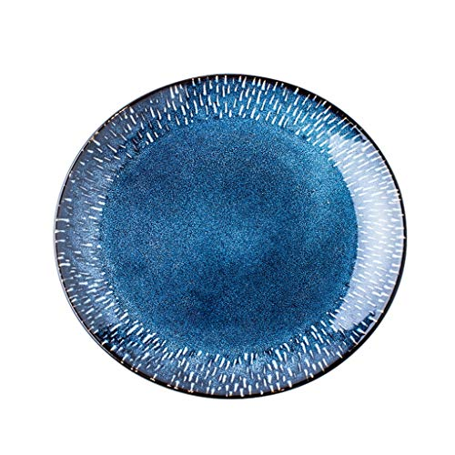 ZZRR Plato de Carne Creative Western Dishes, vajilla Individual para el hogar, Esmalte Activo de cerámica, Adecuado para la Cocina del hogar, Azul (8 Pulgadas)