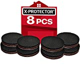 "Non Slip Furniture Grippers X-PROTECTOR – Premium 8 pcs 2"" Furniture Pads! Best SelfAdhesive Rubber Feet for Furniture Feet – Ideal Non Skid Furniture Floor Protectors for Fixation in Place Furniture"