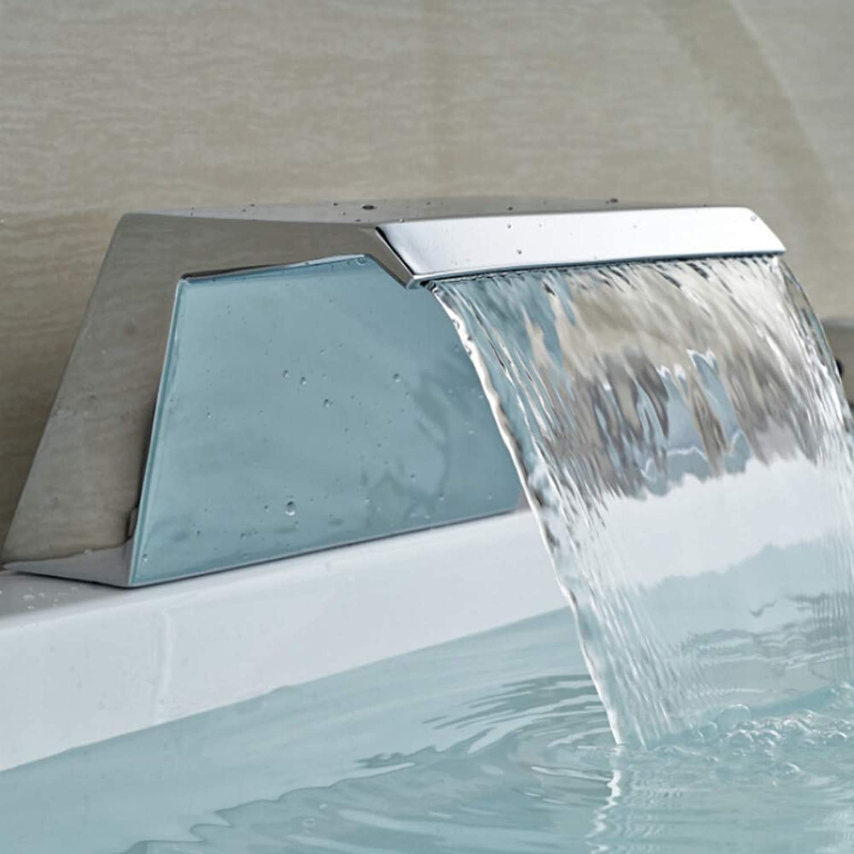 Ayhuir Chrome Big Waterfall Deck Mount Bathtub Faucet Spout Tap