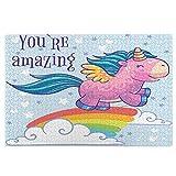 KIMDFACE Rompecabezas Puzzle 1000 Piezas,Pequeño Pony Montando un Arco Iris en el Cielo con una Cita motivadora Eres increíble,Educa Inteligencia Jigsaw Puzzles para Niños Adultos