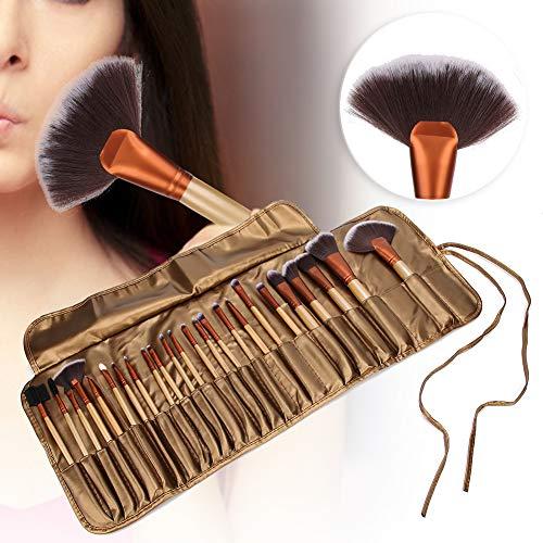 Carnaval de Noël BOQUIRTE Pinceaux de maquillage, 24pcs brosse de fibre artificielle cheveux brosse à cosmétiques faciale douce avec sac