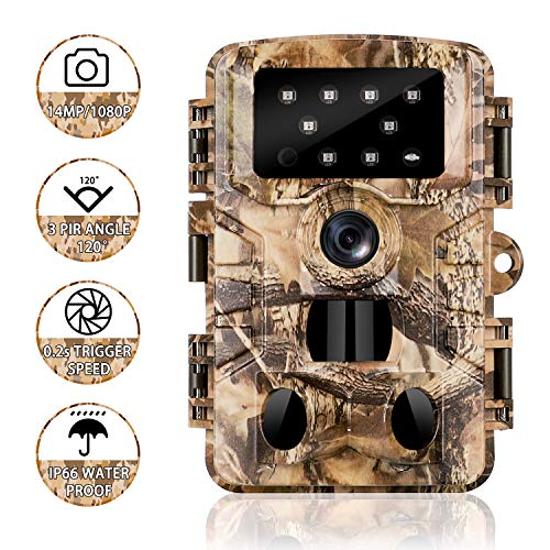 Trail Camera 14MP 1080P HD Game Hunting Camera with 3 Infrared Sensors 850nm IR LEDs Low Glow Hunting Cameras with Night Vision Waterproof IP 66 Wildlife Monitoring with 120Detecting Range