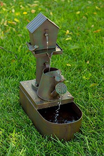 Alpine Corporation MAZ260 Alpine Metal Tiering Birdhouse, 24 Inch Tall Watercan Fountain, 24', Beige